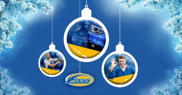 Sinisellä taustalla joulupalloja, joissa sininen auto, varastomies ja iloinen mekaanikko.